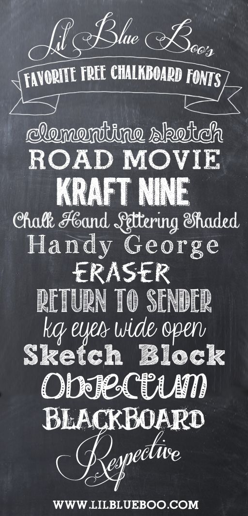 How to's : Lil Blue Boo's Favorite Free Chalkboard Fonts and Free Chalkboard Paper Download via lilblueboo.com