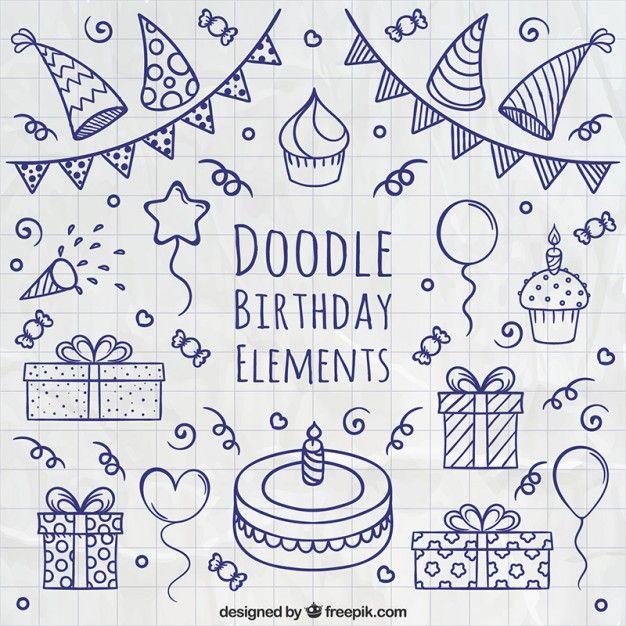 Doodle birthday elements free vectors