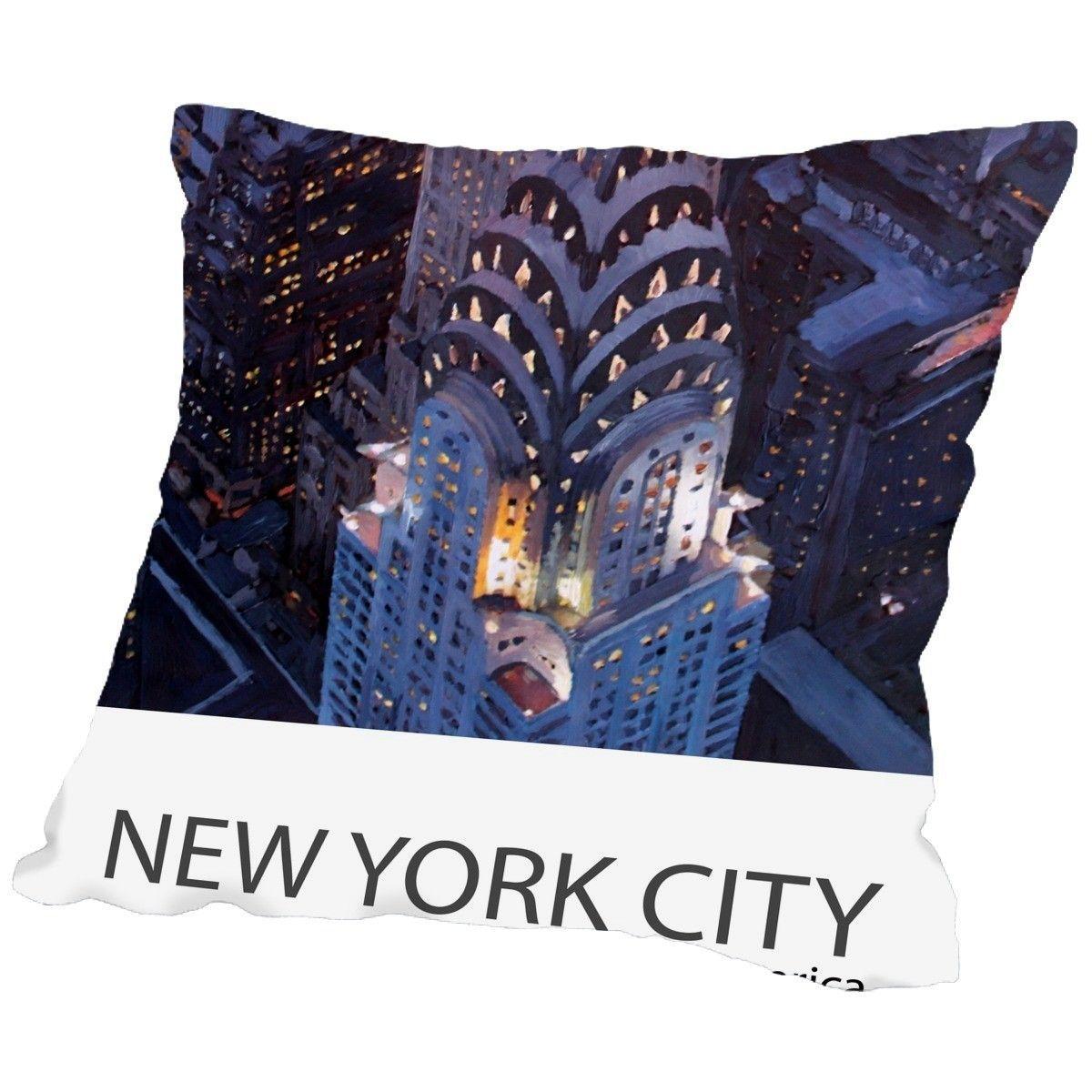 New York City Classical Midtown Manhattan with Chrysler Building Poster Throw Pillow