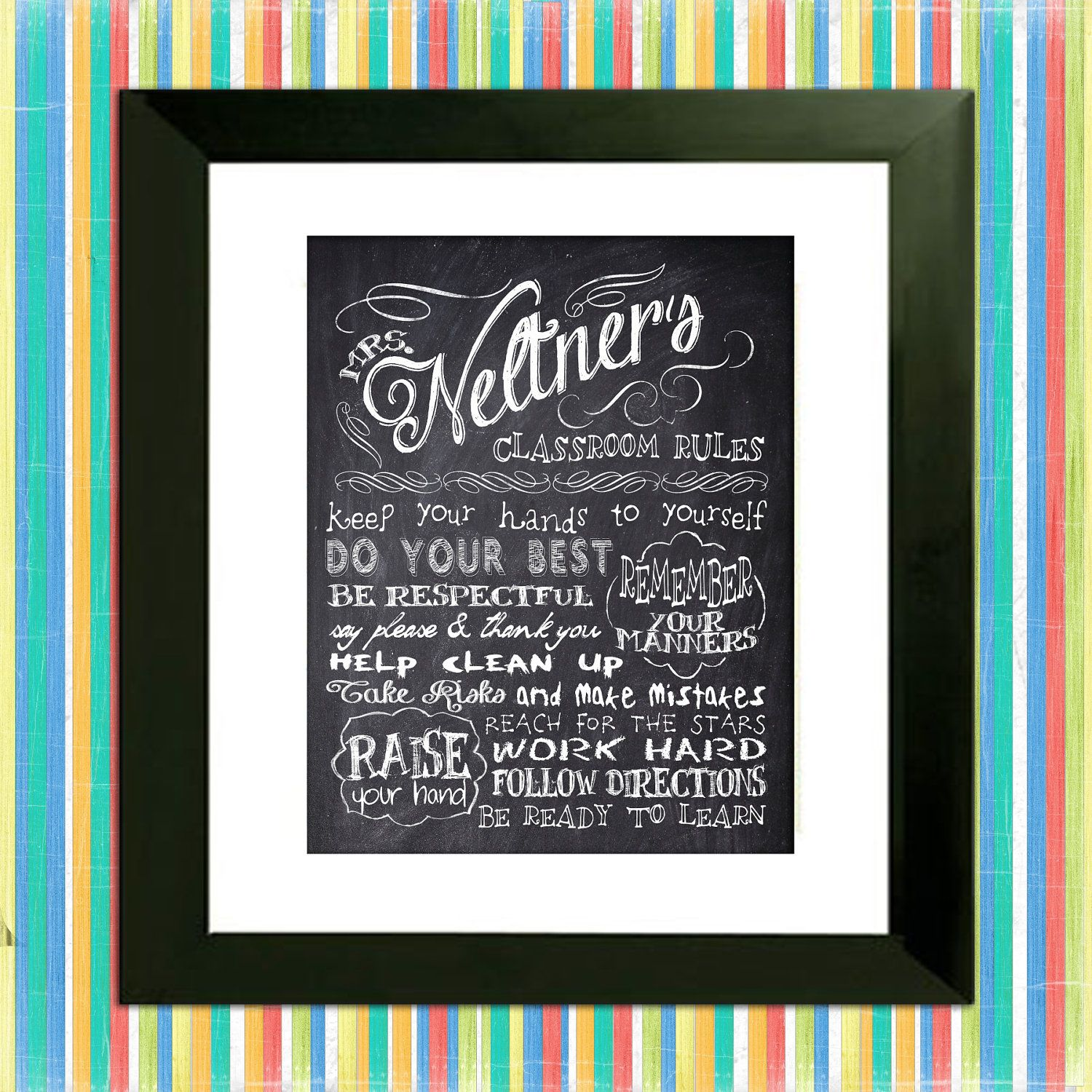 Personalized chalkboard teachers classroom rules custom subway