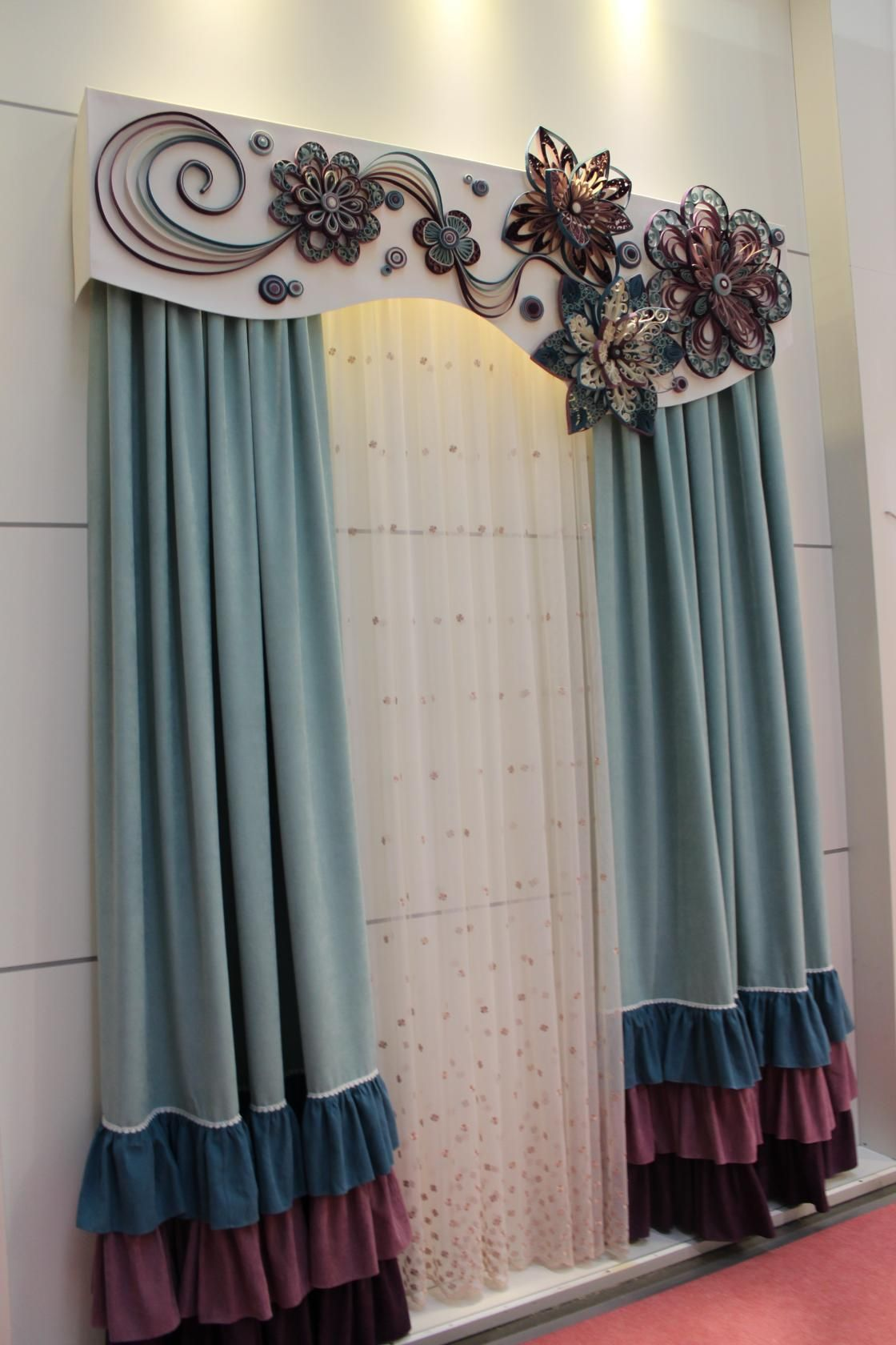 valance and boards white circles window custom cornice curtain fabric grey treatment board
