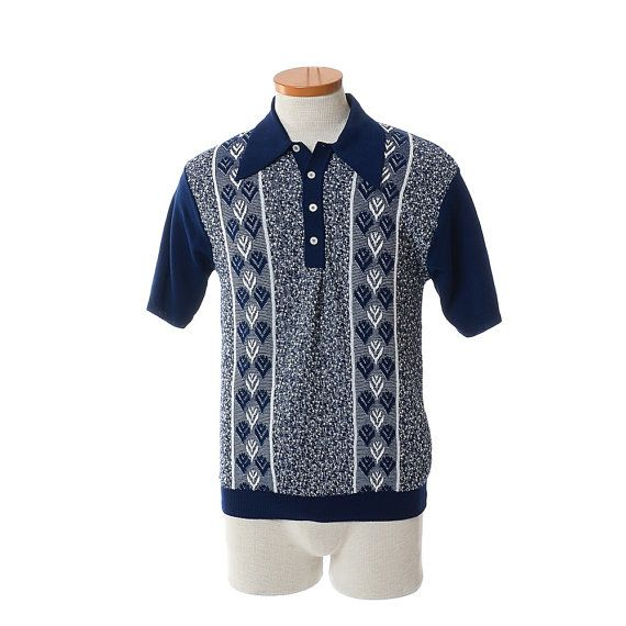 Vintage 1960/'s Hipster Atomic Rockabilly Knit Polo Shirt