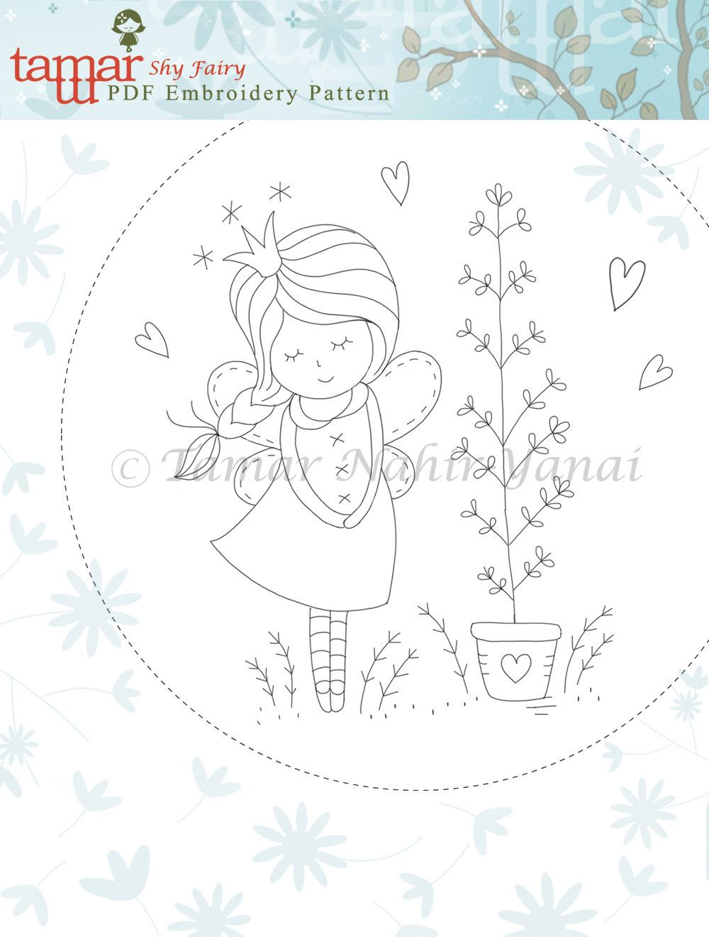 Embroidery Pattern Instant Download Shy Fairy by TamarNahirYanai