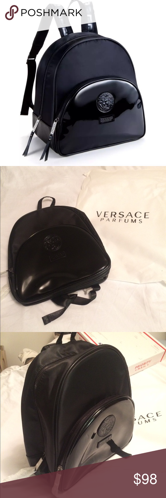 15b7b6386a Versace Parfums Backpack 🎒 Versace Parfums Backpack 🎒 Limited Edition  Comes with Dust bag 100% Authentic Color Black Measurements 12 x 12 x 6 Medusa  Head ...