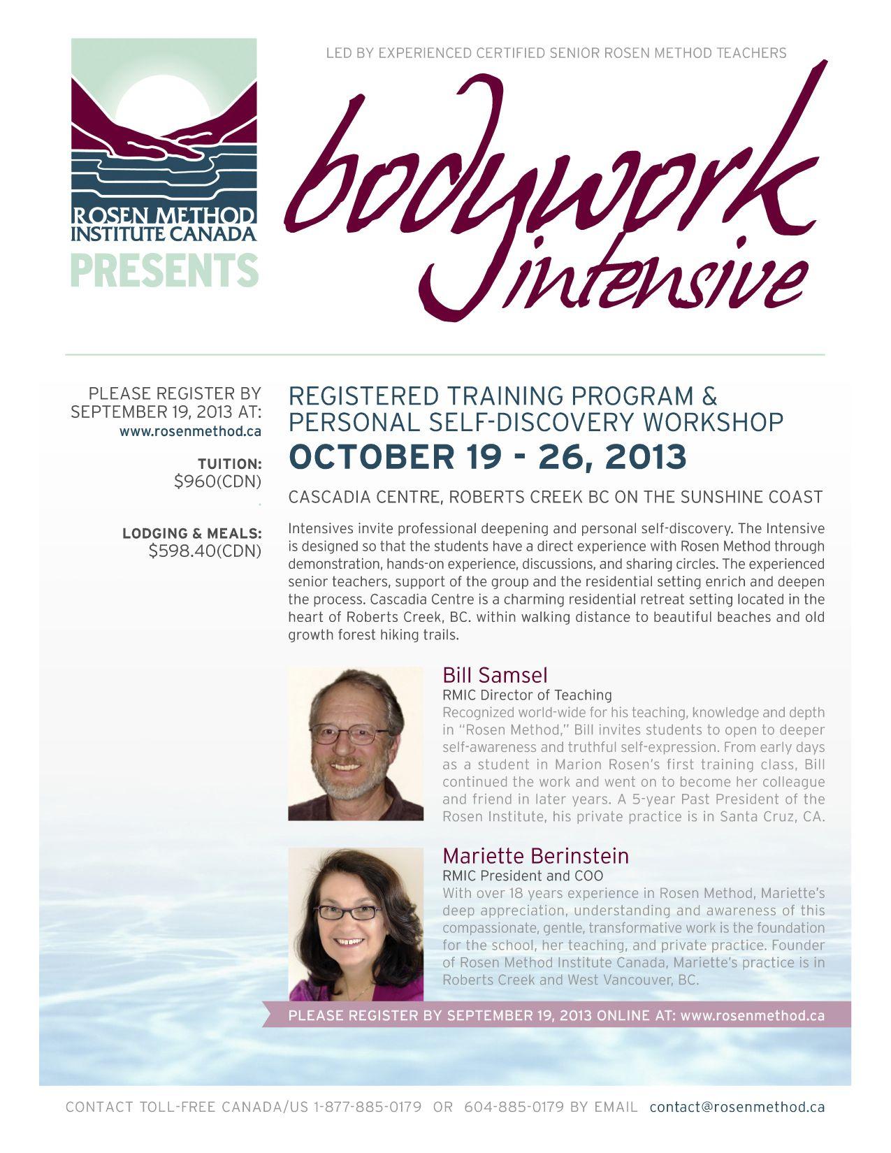 Rosen Method Bodywork Intensive Oct. 1926, 2013 (With