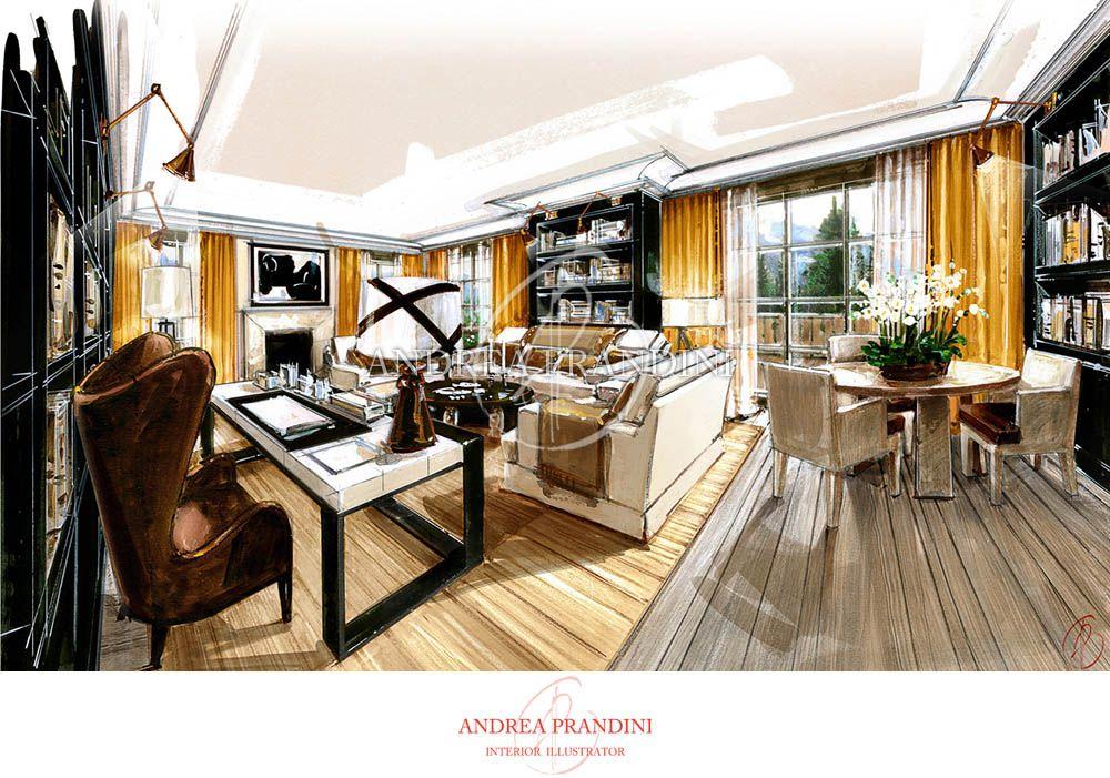 interior illustration and visualization watercolor illustration handmade rendering modern. Black Bedroom Furniture Sets. Home Design Ideas
