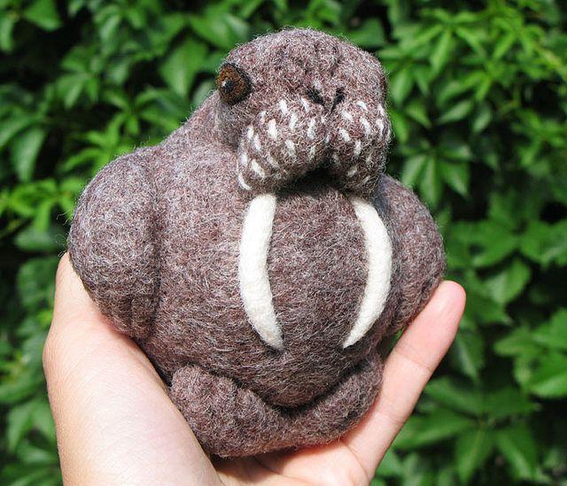 Walrus, needle felted wool ball by woolroommate, via Flickr