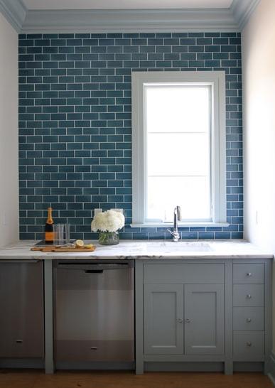 Blue Subway Tile With Gray Cabinets Carrara White Granite