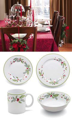 Holly Christmas Dinnerware 16pc Set Adornos De Navidad Ceramica Pintada Platos Pintados