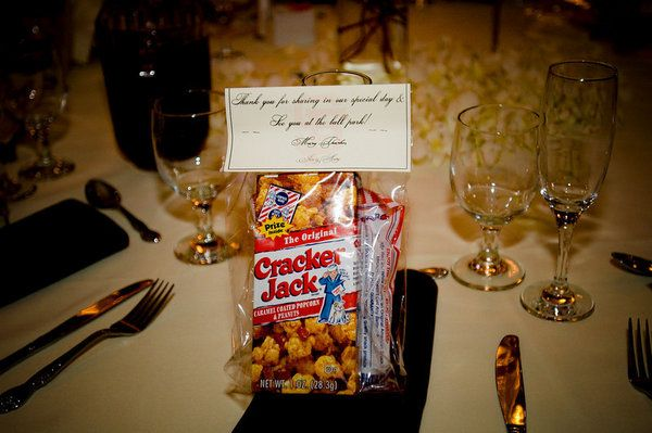 baseball themed wedding favors - use Cracker Jack bag and peanuts ...