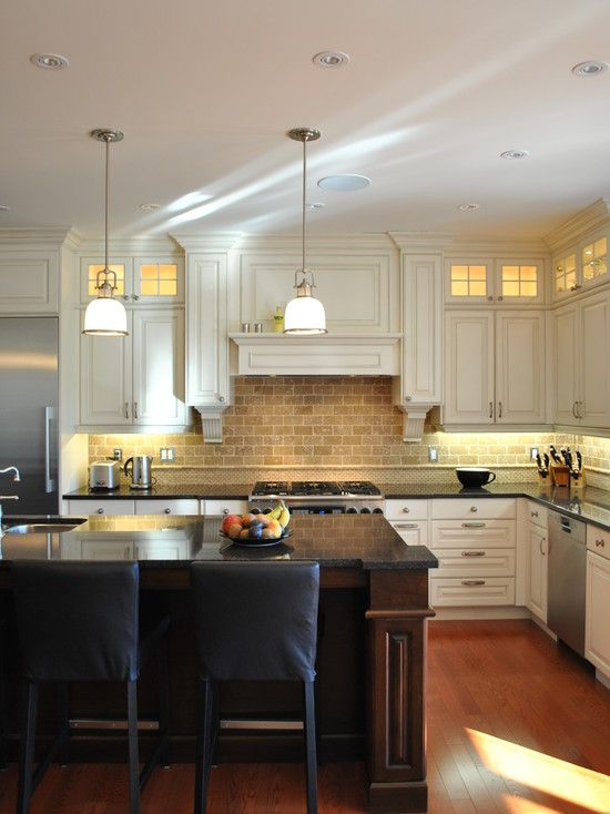 Kitchen Cabinets Mixing White With Brown Cabinetry Design Pictures Remodel Decor And Id Traditional Kitchen Design Kitchen Backsplash Designs Kitchen Design