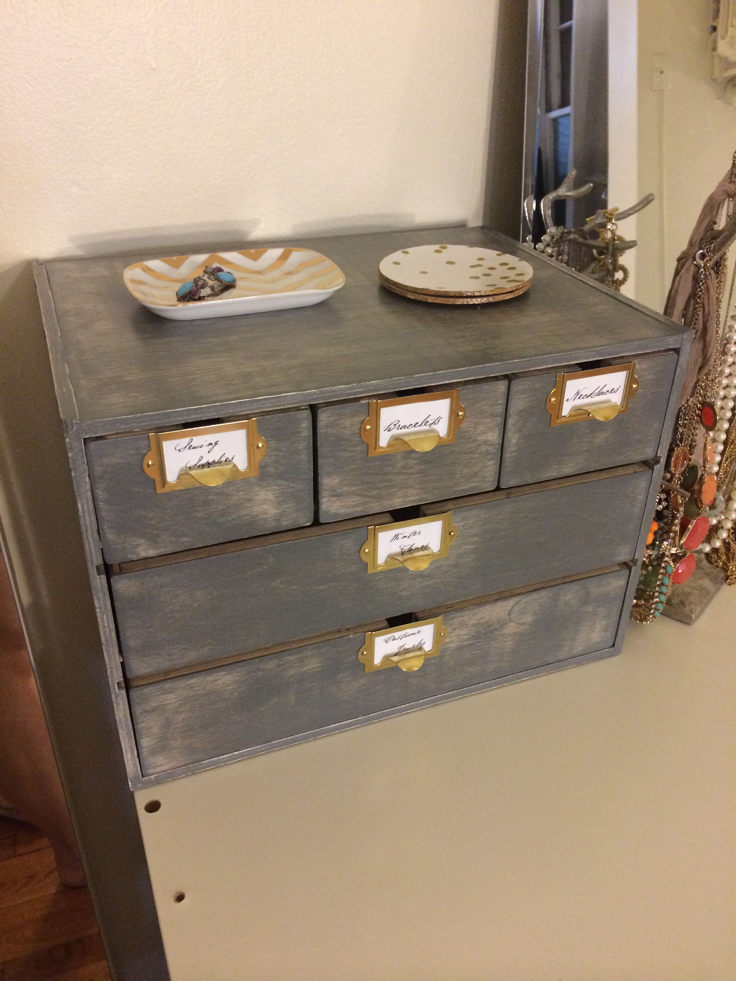 Inspired By Akadesign Similar Ikea Moppe Hack But With A Weathered Gray Stain And Hardware From Etsy