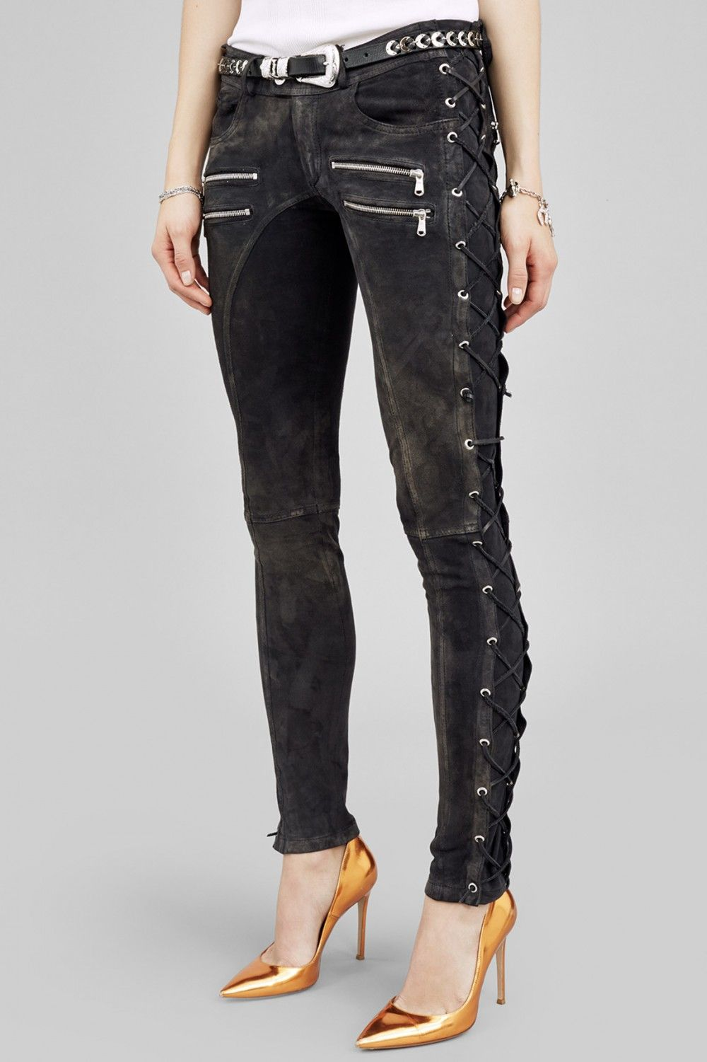 dcdb5c9797b Faith connexion Zipper Pocket Pants With Lace Up Side in Black | Lyst