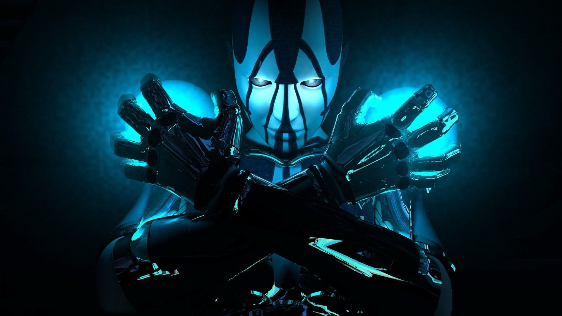 Blue Robot Cyborg Futuristic 3d Wallpaper Background Fond Ecran Hd Fond Ecran Images