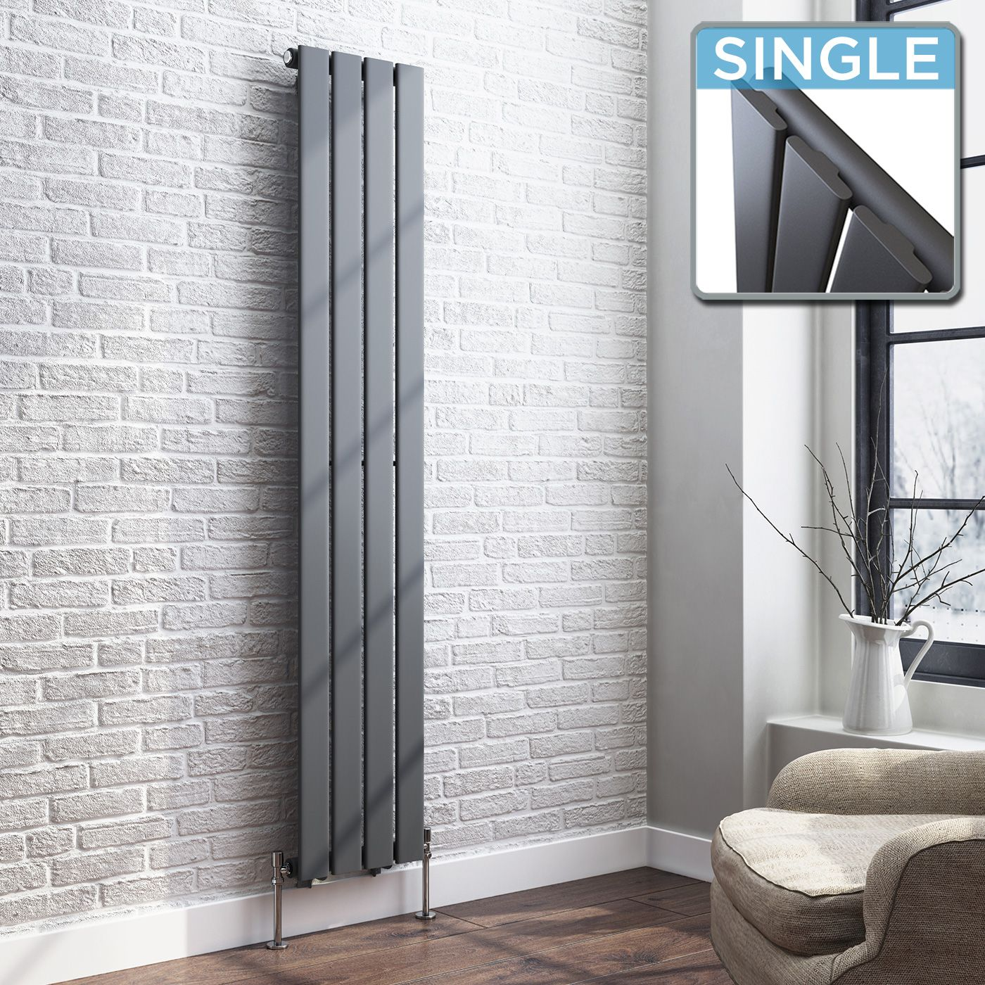 Thera vertical flat panel designer gas radiator in - Designer vertical radiators for kitchens ...