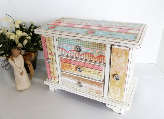 Jewelry Box Girls Ladies Upcycled Wooden Shabby Chic Cottage Decor