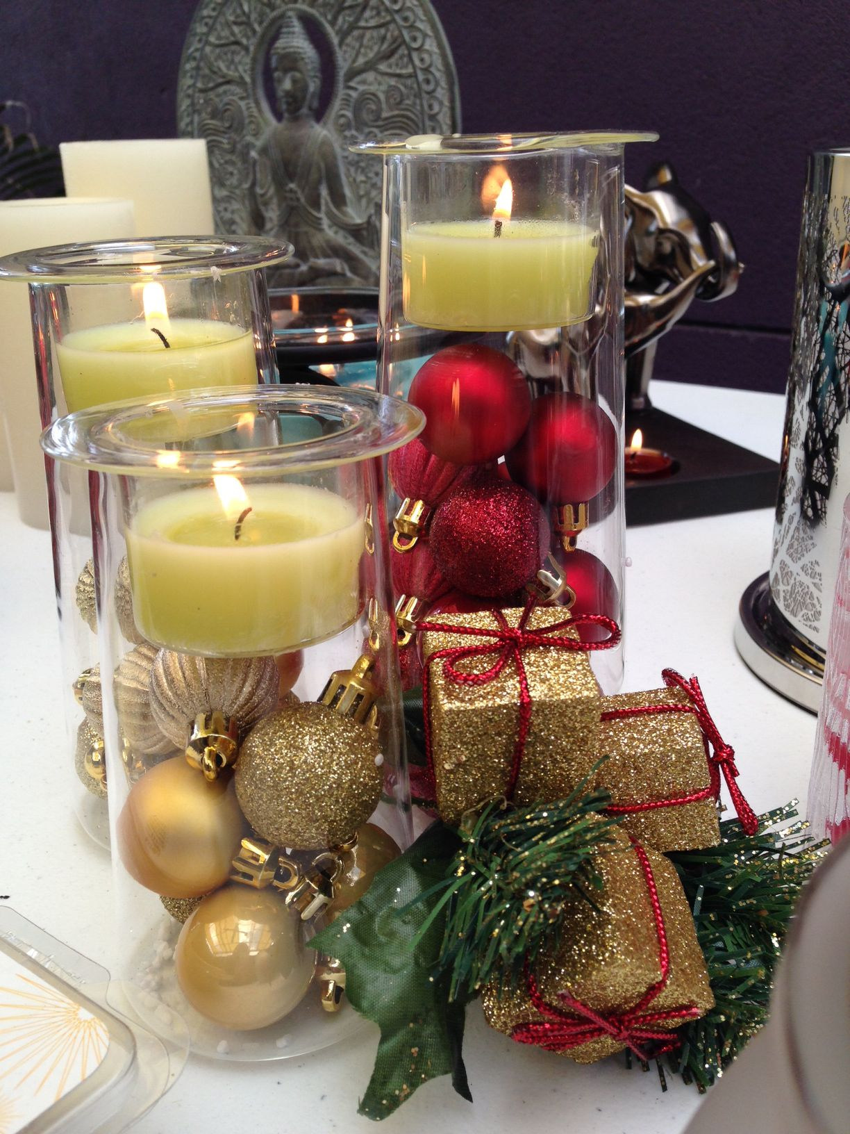 Christmas Candle Party Partylite Candles Symmetry Trio Christmas Candle Christmas Table Setting Centerpieces Candles