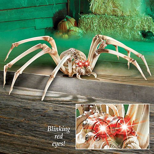 Halloween Scary Spider Skeleton 3Ft Wide Lighted Red Eyes Giant In - giant spider halloween decoration