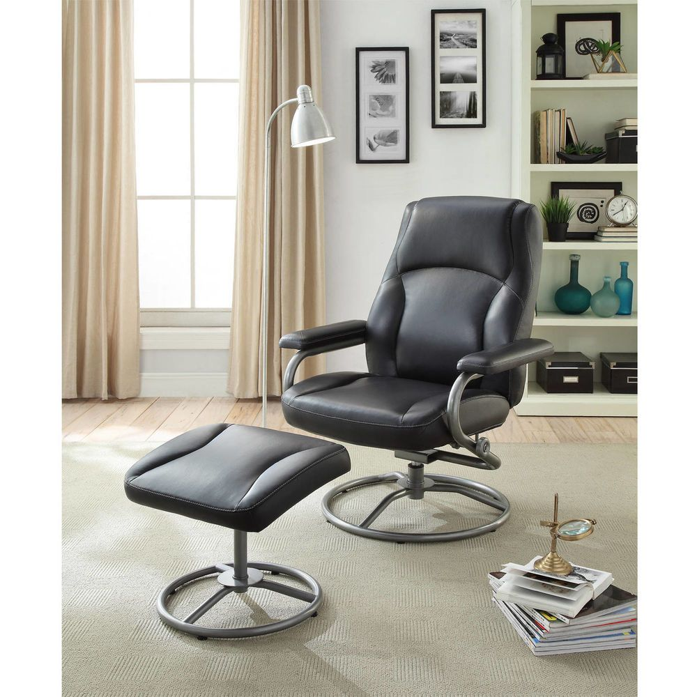 Black Recliner Seat and Ottoman Set Office Footrest