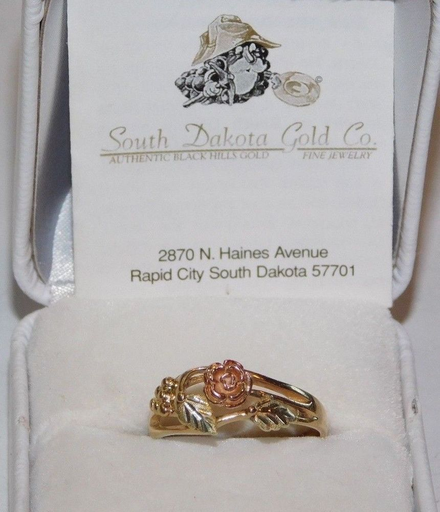 Black Hills Sterling Silver Ring With 12K Gold Leaves Size 4-10