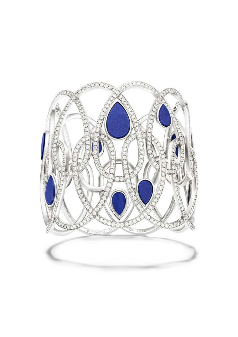 Piaget's Extremely Piaget collection white gold bracelet set with 870 brilliant-cut diamonds and nine lapis lazuli cabochons.