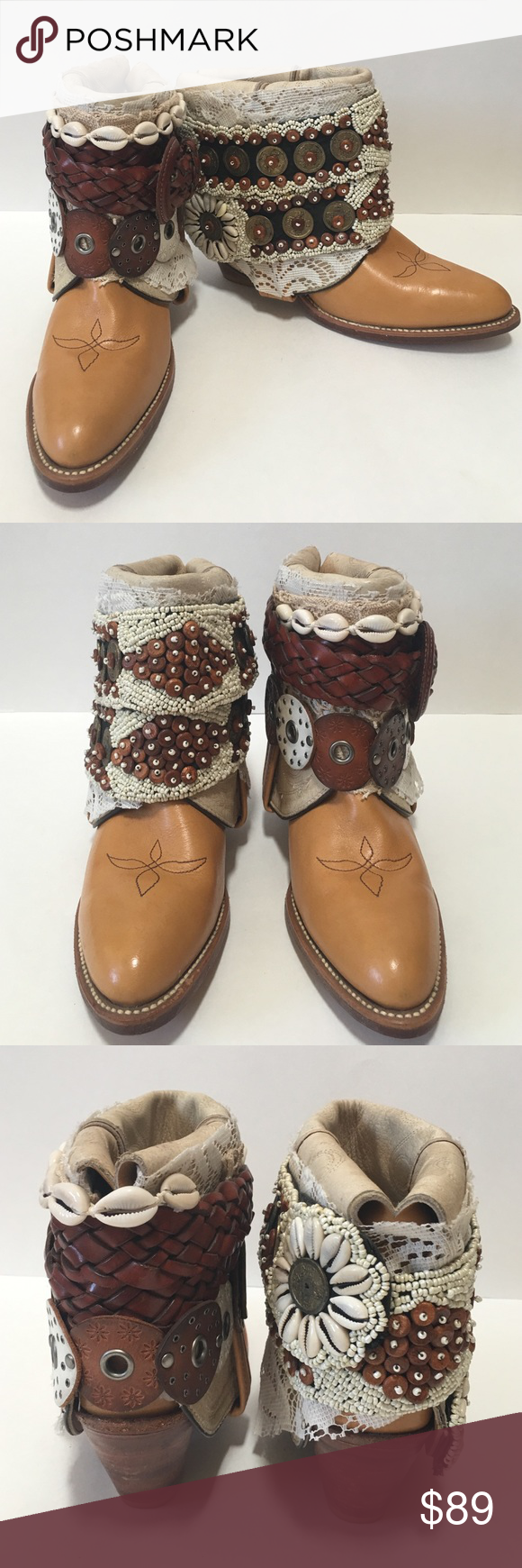 Western Boho Belted Boots (like Free People) Bohemian boho belted embellished boots perfect for festival wear! These boots are one of a kind. In excellent condition, like new, these are a must for any fashionista. Shoes Ankle Boots & Booties