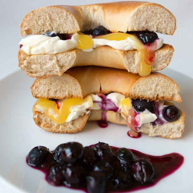 Blueberry Lemon Cheesecake Bagel Sandwich