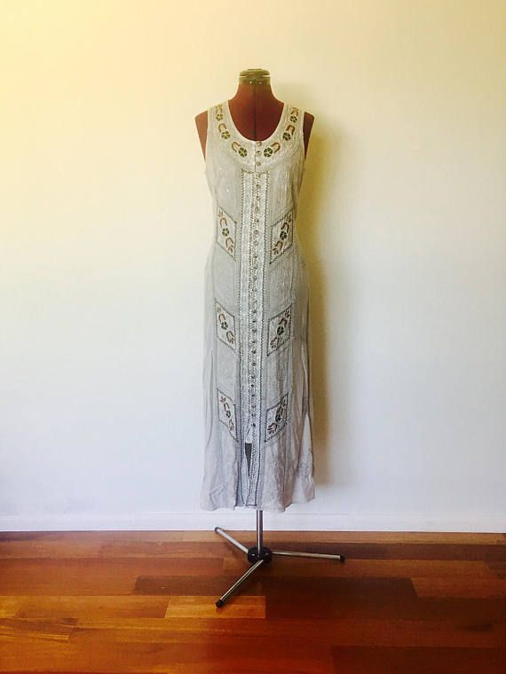 90s Maxi Dress Gray Embroidery Rayon Made In India Size S M