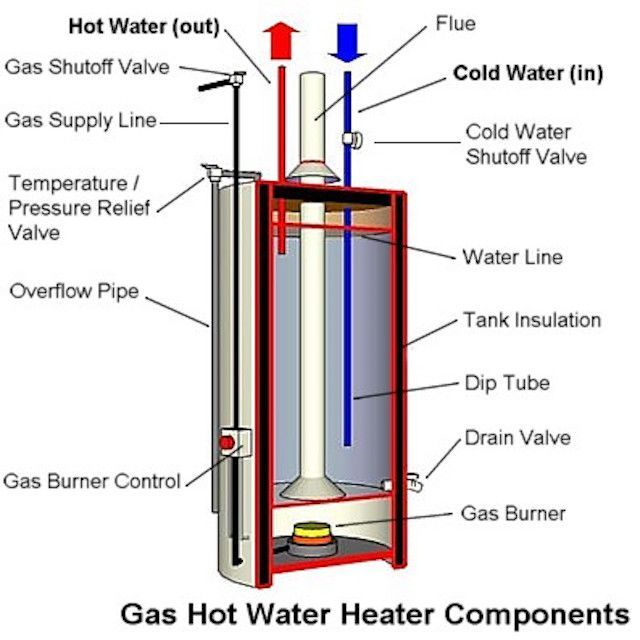How Is A Tank Type Gas Water Heater Designed Gas Water Heater Hot Water Heater Water Heater Maintenance
