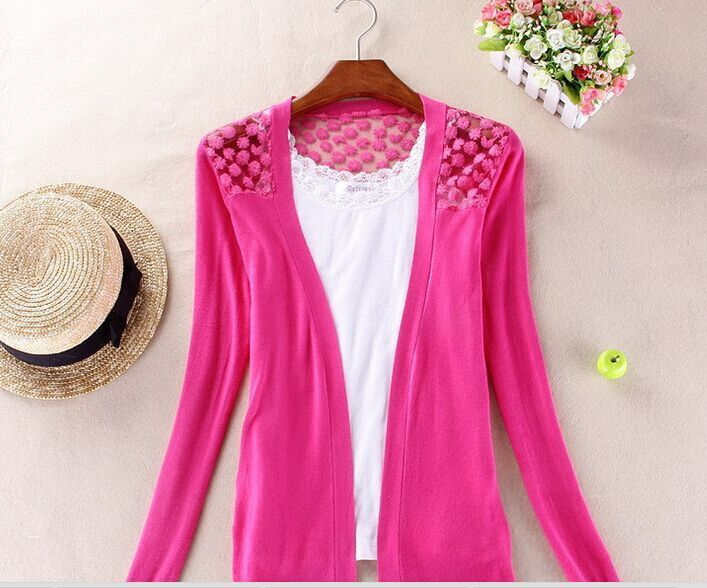 Women Cardigan Lace Sweet Candy Pure Color S