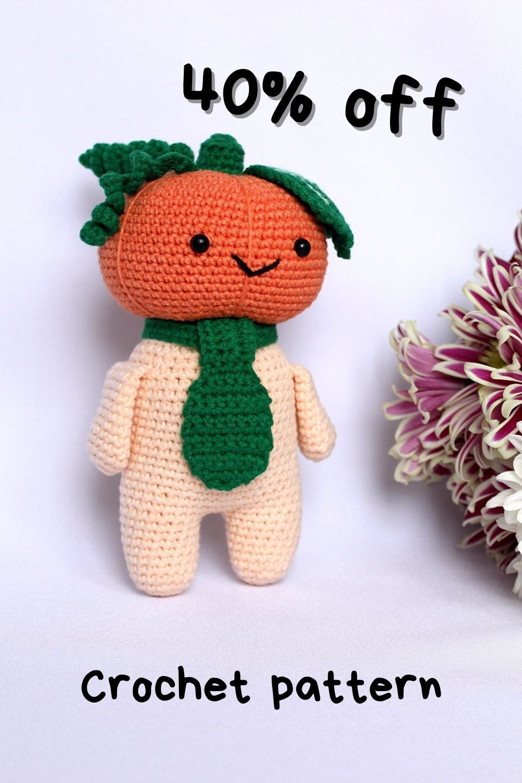 Pattern crochet toy pumpkin doll