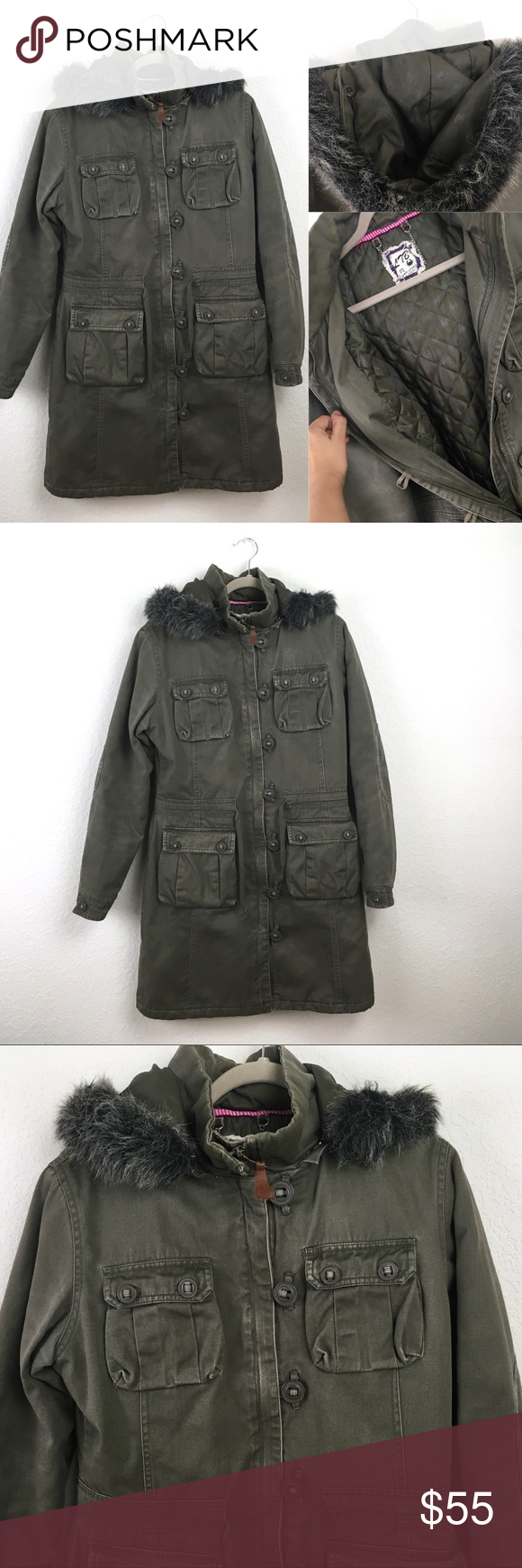 91a81e9a31 JUST IN💙Long Green Knee Length Winter Hooded Coat Long olive green utility  jacket.