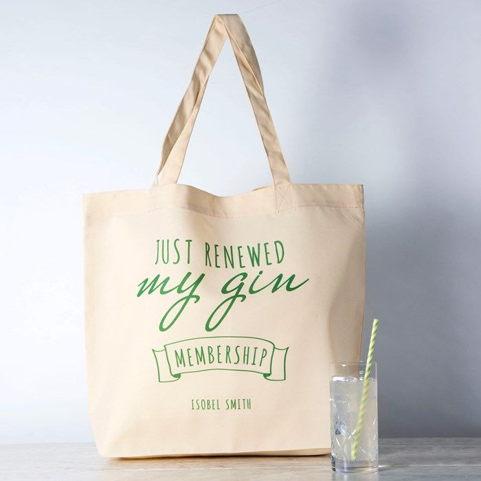 Personalised Tote Bag Gin Membership