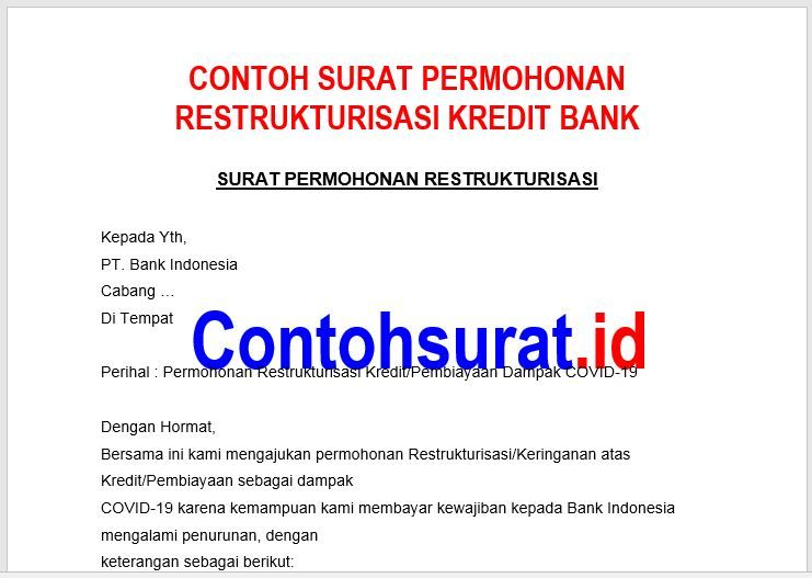 Contoh Surat Permohonan Restrukturisasi Kredit Bank Surat Pengikut Kartu