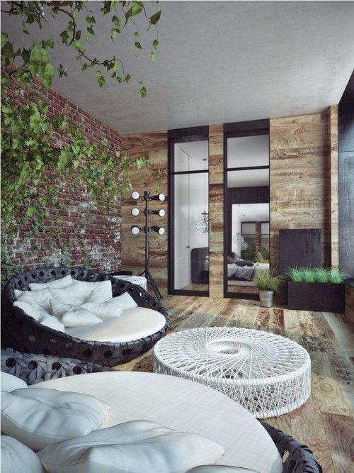 Nature rustic interior design family room emerald penthouse concept sergey makhno workshop the sofas are so inviting