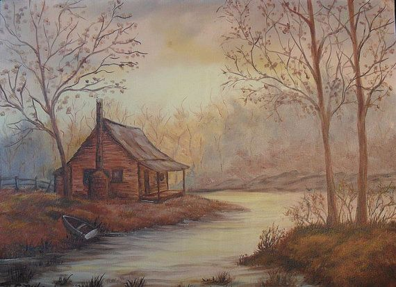 Contemporary Oil Painting Cabin In The Woods By Veiledthroughtime 48 00 Contemporary Oil Paintings Painting Oil Painting On Canvas