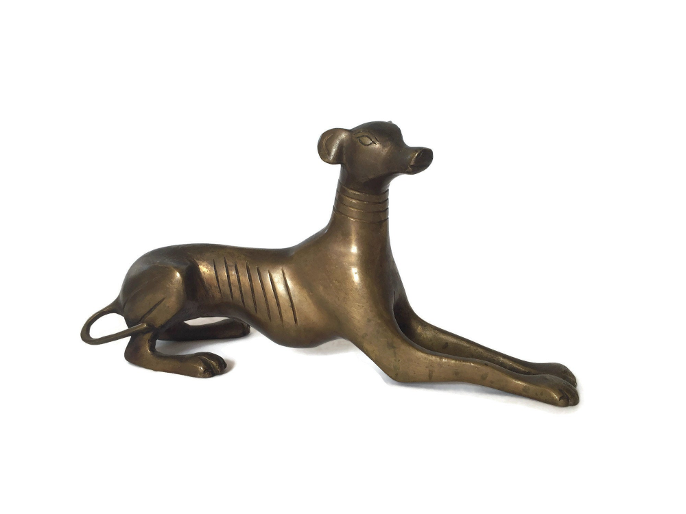 GRACEFUL BRONZE GREYHOUND STATUE Dog Whippet Sculpture Art Deco Pet Lover Gift