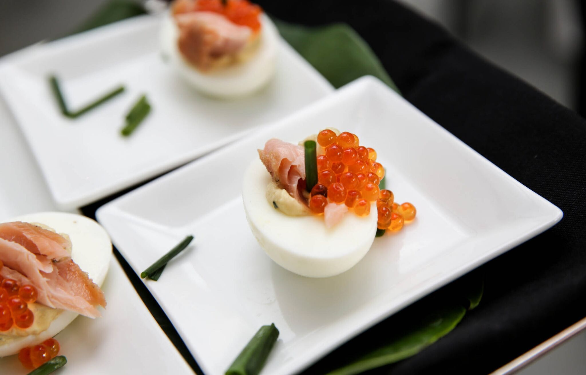 Chez Montier deviled eggs with house smoked salmon and salmon caviar. #chezmontier #chef #atlantafoodie #appetizer #deviledeggs #smokedsalmon #caviar
