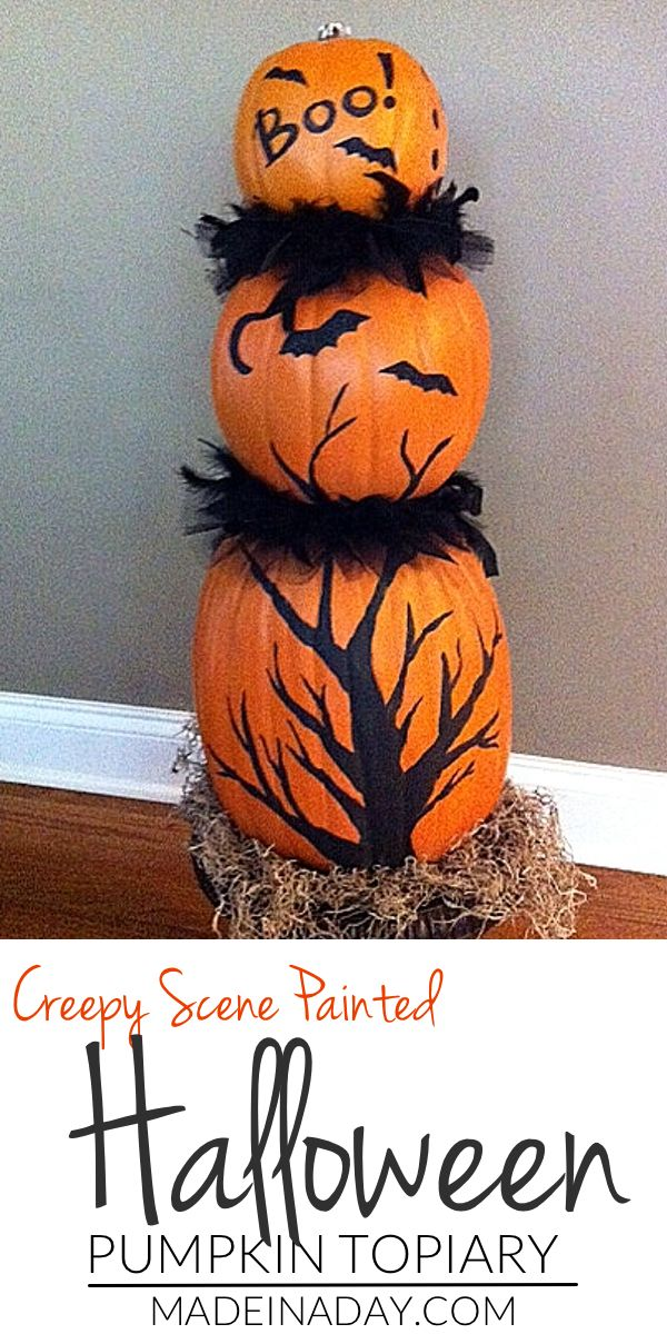 Faux Pumpkin Topiary Pumpkin topiary, Topiary and Halloween fun - create halloween decorations