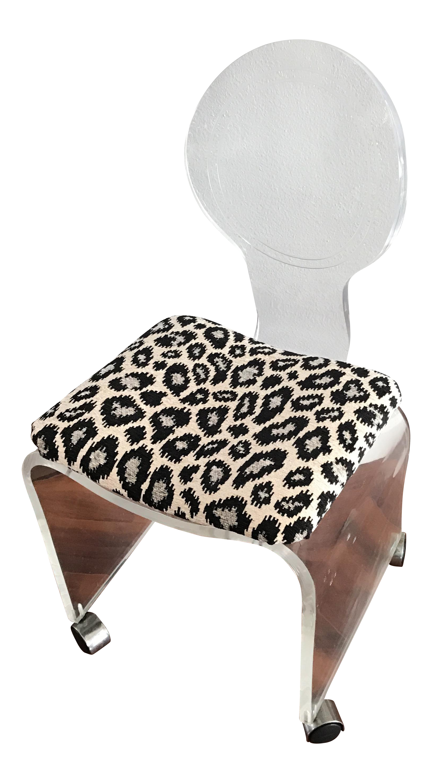 Lucite Hollis Jones Style Chenille Animal Print Rolling Vanity