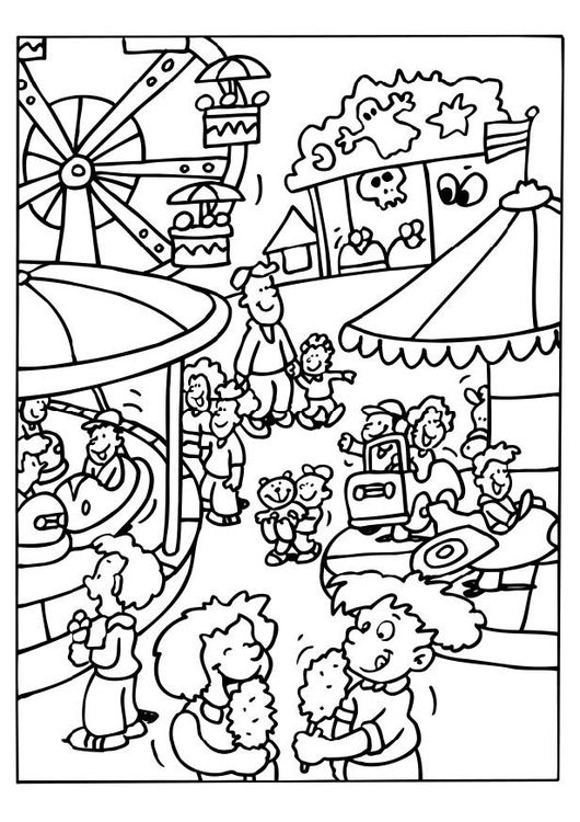 Coloring Page Carnival Coloriage Manege Fete Foraine Coloriage
