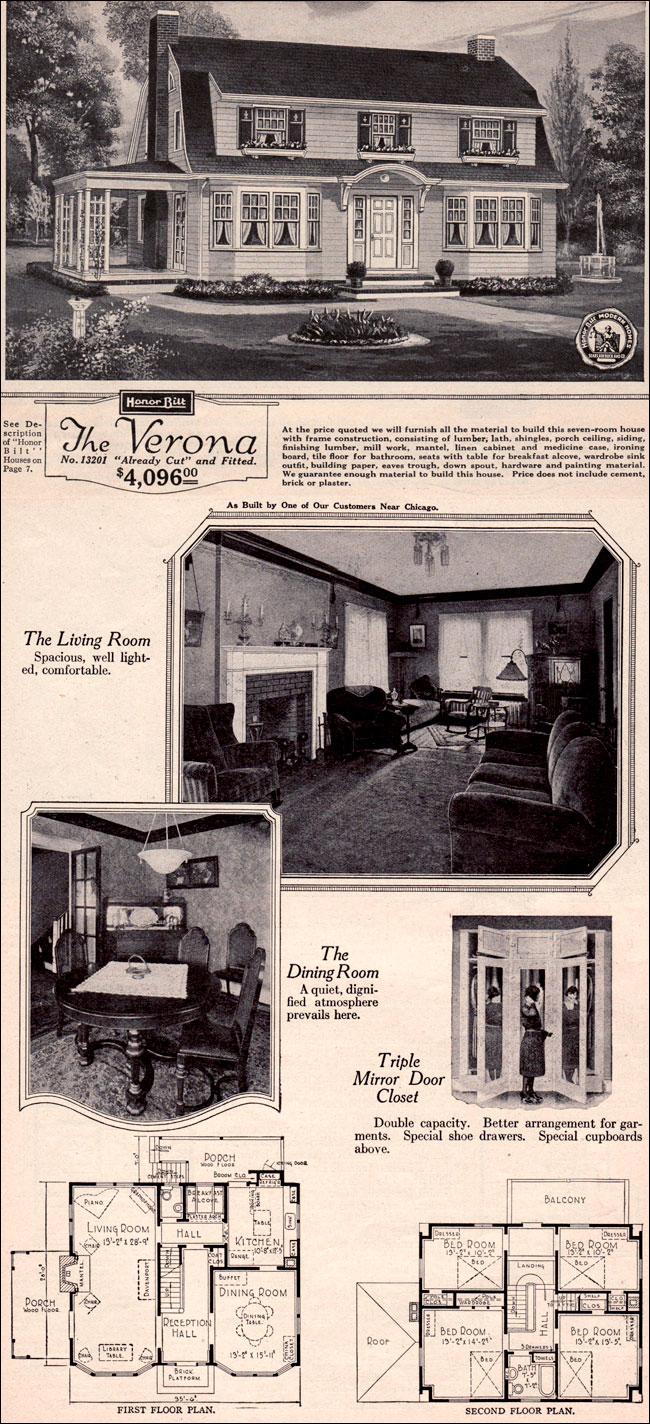 Dutch Colonial Revival Traditional Kit House Plan 1923 Sears Home Verona