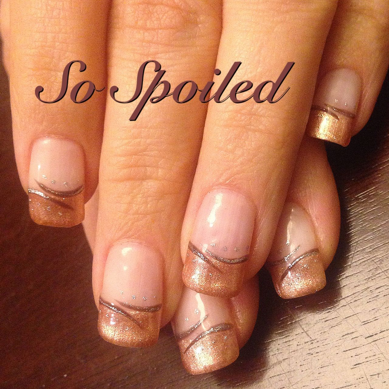 Bio Sculpture Gel Nail Art & Design - Rose gold French with ...