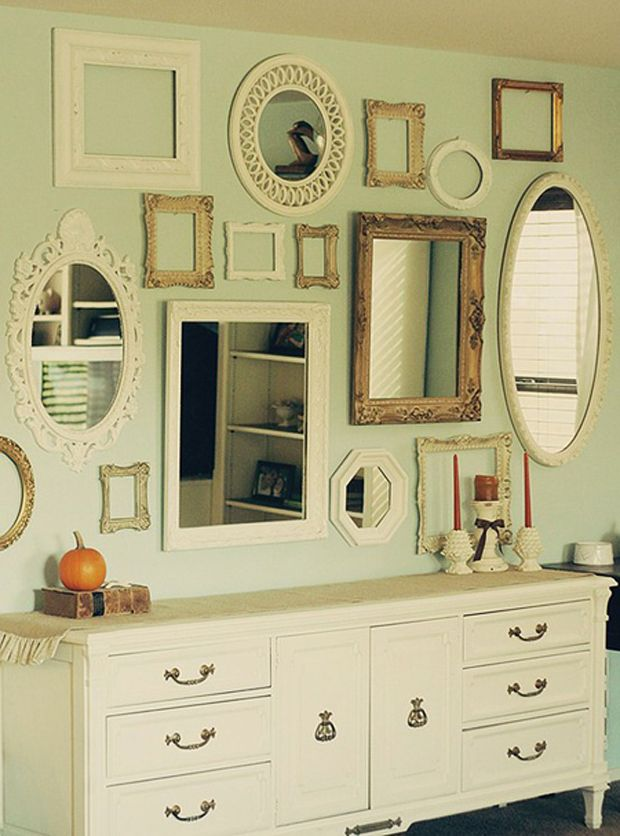 easy and inexpensive design, use old mirrors, tag sale finds, even ...