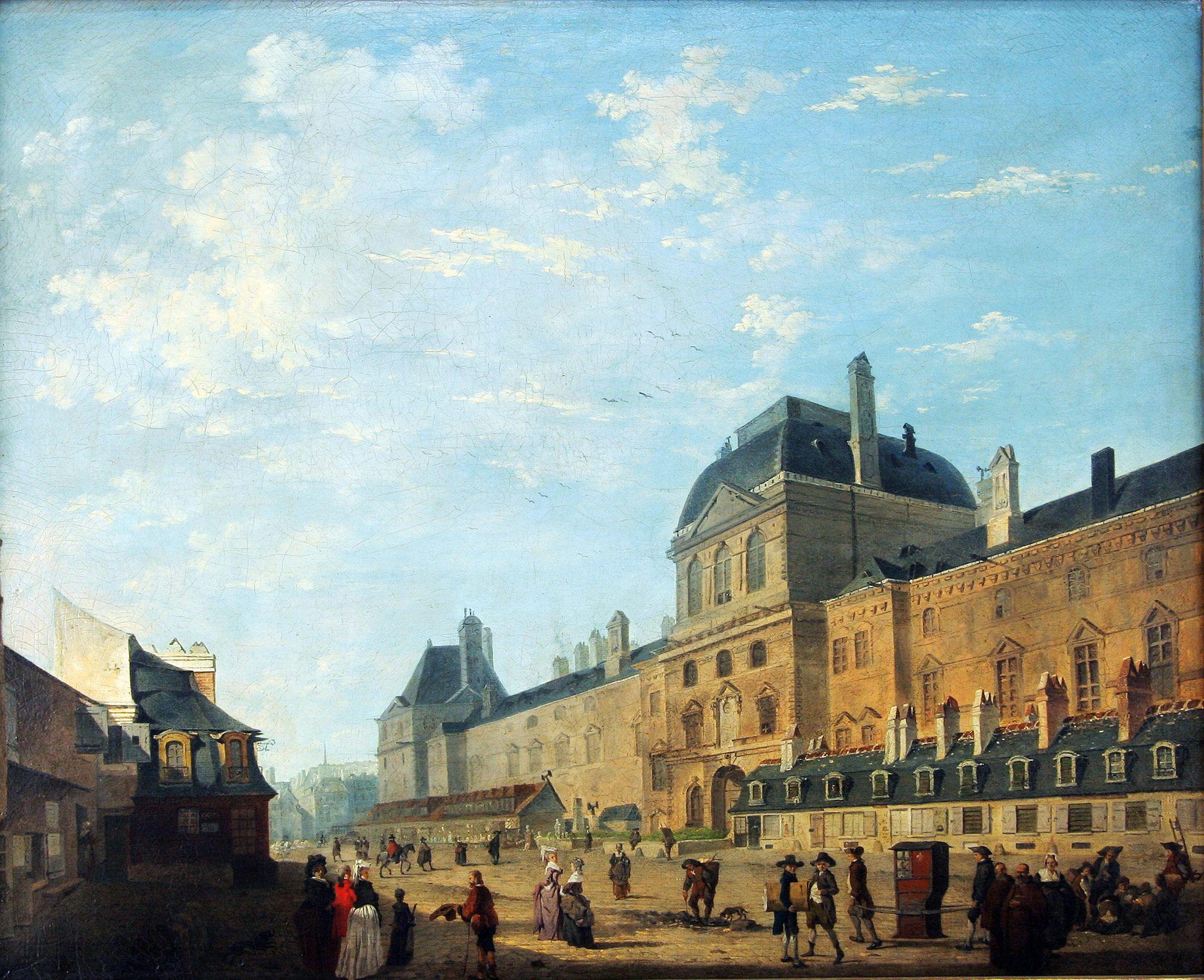 une vue de la faaade ouest. Debucourt, Vue De La Façade Ouest Du Louvre XVIIIe Siècle Paris Musée Une Faaade S