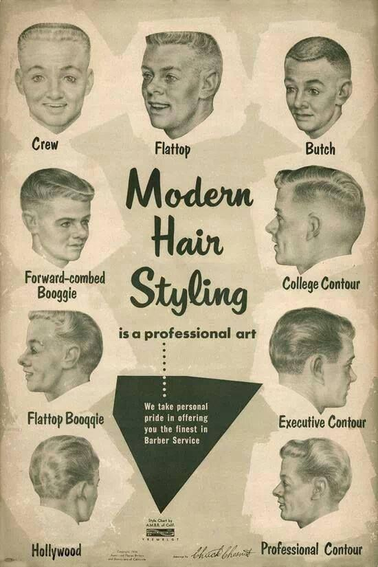 Get A Haircut Hippie This 1950 S Barber Shop Style Chart Will Give You Some Ideas Modern Hairstyles 1950s Mens Hairstyles Mid Hairstyles