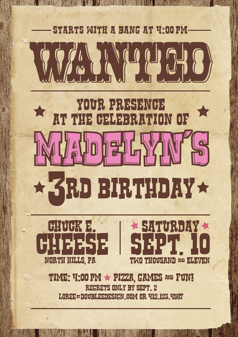 Cowgirl Party Invite Cowgirl party Pinterest – Western Birthday Invitation
