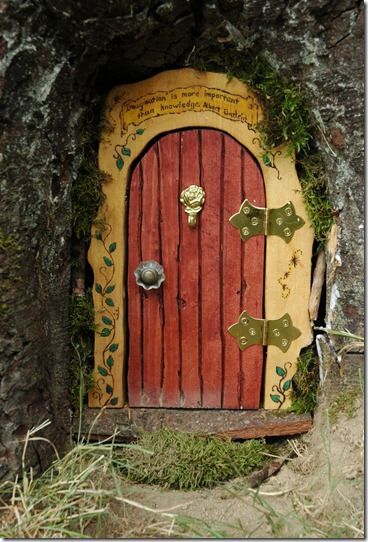 Garden ornament Fairy doorway  to hang or place at base of a tree//wall.