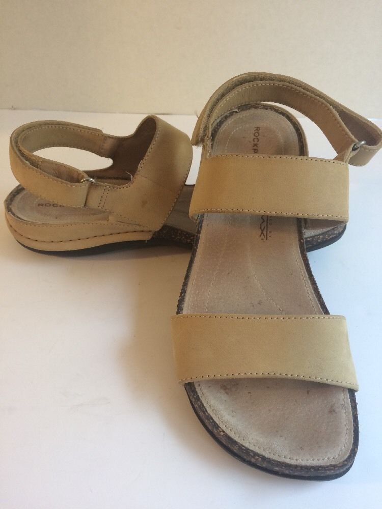 Rockport Tan Leather Sandal, Velcro Strap, Powered By DMX, Women's 8N | eBay