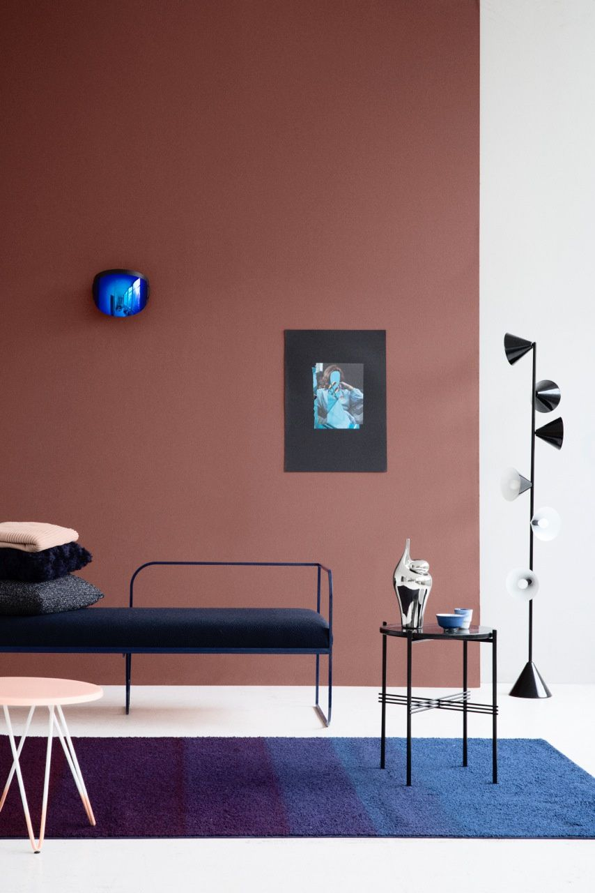 living room color schemes with black furniture%0A Terracotta pink wall and modern furniture  living room decor ideas Dimore  Studio  Pepe
